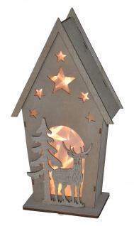LED Deko-Holz-Häuschen mit Hirsch und Tanne Weihnachtsdeko Fensterdeko Tischdeko
