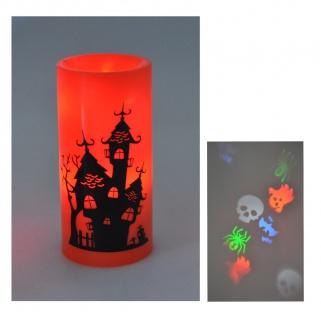 LED-Kerze Halloween Deckenprojektor Deko Lampe Gespenst Geist Totenkopf Spinne