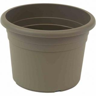 Topf CILINDRO Ø 20 x 14, 1 cm, taupe Rundes Kunststoffgefäß mit Bodenlöchern