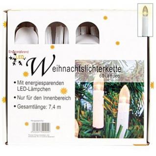60 LED-Weihnachtsbaum-Lichterkette Kerzenform Christbaum Weihnachtsdeko warmweiß