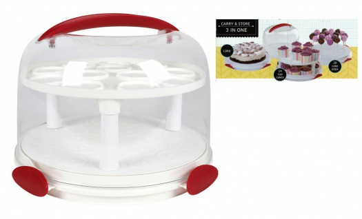 Premium Kuchenglocke 3in1 Tortenglocke Cake Pops Cupcakes Muffins Transportbox
