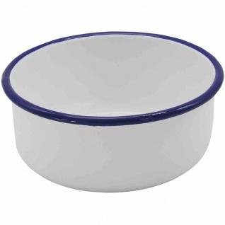 """Servierschale """" Husum"""" 8 cm weiß mit blauem Rand, gerade Ausführung"""