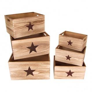 Deko-Holzkästen Stern 6er-Set Holzkiste Aufbewahrungskiste Aufbewahrungsbox Deko