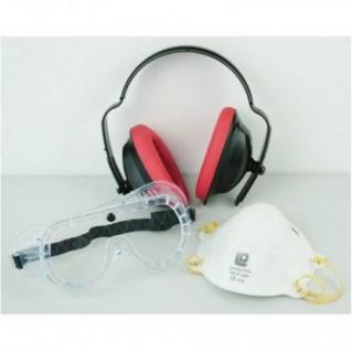 Sicherheitsset Gehörschutz Staubmaske Schutzbrille Atemschutz Vollsichtschutz