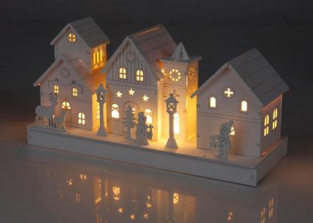 Weihnachtshaus LED-Dekodorf aus Holz 28x14x11cm Weiß Dekohaus Beleuchtung
