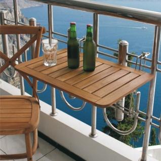 Balkon-Klapptisch Teakholz Balkonklapptisch Balkonhängetisch Balkontisch Teak - Vorschau 2