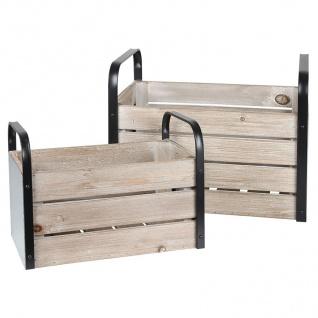 Holzkisten-Set mit Metallgriffen 2-teilig Aufbewahrungsbox Zeitschriftensammler