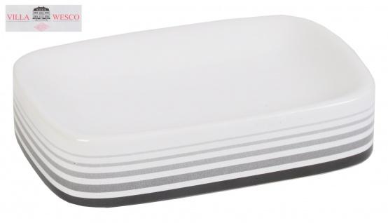 Villa Wesco Keramik / Edelstahl Seifenschale Seifenablage Seifenhalter weiß neu - Vorschau 1