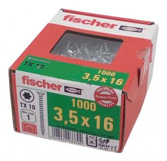 1000x fischer Spanplattenschraube 3, 5x16 TX10 Holzschrauben verzinkt Vollgewinde