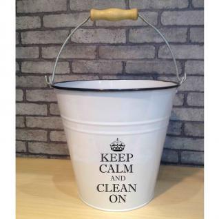 Eimer 10 l weiß Keep Calm mit Holzgriff Verzinkt Dekoration Vintage Putzeimer - Vorschau 1