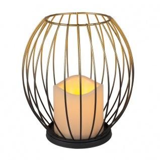 Metall-Laterne Gold mit LED-Kerze warmweiß Timer und Flackereffekt 17, 5cm