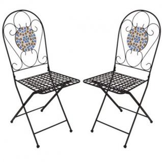 Mosaikstühle 2er-Set Venedig Gartenstühle Metallstühle Mosaikstuhl Stühle Neu