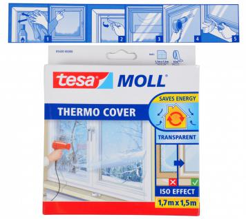 Tesa Moll Thermo Cover Fenster-Isolierfolie transparent 1, 7x1, 5 m Kälteschutz