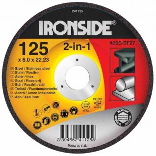 Schruppscheibe für Metall 125/6mm gekröpft, Bohrung 22 mm