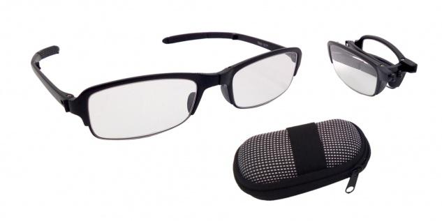 Faltbare Lesebrille mit Brillenbox 1, 5 - 3, 5 dpt Unisex Lesehilfe Sehhilfe Etui