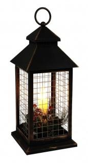 LED Laterne mit Dekozweigen und Flackereffekt Weihnachtslaterne Weihnachtsdeko