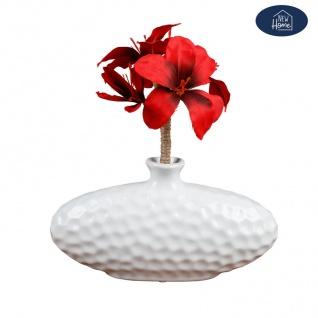 Keramik Vase oval weiß Blumenvase Dekovase Tischdeko Keramikvase Dekoration