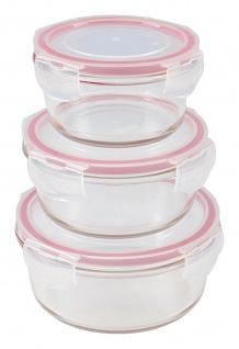 Glas-Frischhaltedosen mit Deckel 3er-Set rund Vorratsdose Gefrierdose Lunchbox