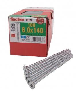 100x fischer Spanplattenschrauben 6, 0x140 Power Fast TX Senkkopf Teilgewinde