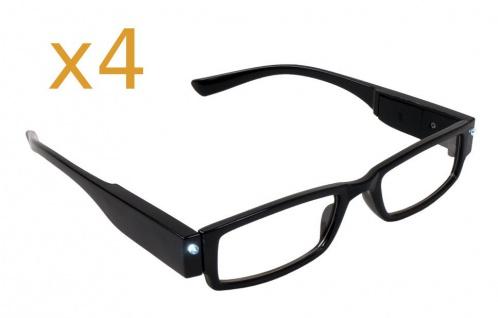 4x Lesebrille mit LED-Licht +3.50 dpt Lesehilfe Sehhilfe Nachtbrille Leselicht