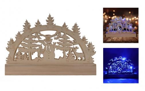 Holz-Schwibbogen 5 LEDs blau Lichterbogen Weihnachtsdeko Fensterdeko Adventsdeko