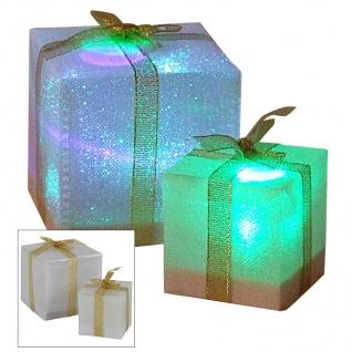 LED-Geschenkpäckchen mit Farbwechsler 5cm Weihnachtsdeko Tischdeko Päckchen