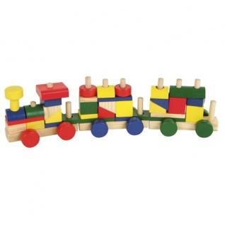 Holzeisenbahn Stecksystem bunt Holz-Zug Lokomotive Anhänger Bausteine Spielzeug