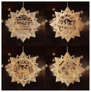 LED-Holzstern 30cm Leuchtstern Weihnachtsstern Weihnachtsdeko Fensterdeko Advent