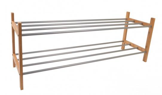 Bambus-Schuhregal mit Metallrohr-Ablage