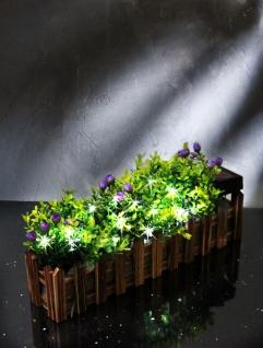 LED Solar-Blumenkasten Gartenzaun 36cm mit Kunstpflanzen Gartendeko Balkonkasten - Vorschau 2
