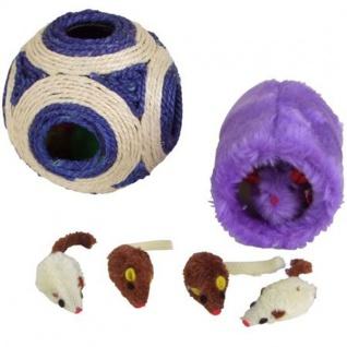 Katzenspielzeug-Set 6teilig Sisalball Fellmaus Plüschmaus Mäuse Bälle interaktiv - Vorschau