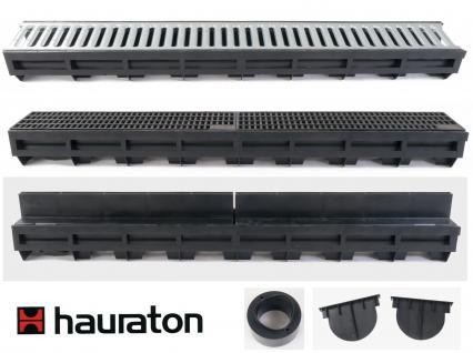 Hauraton Entwässerungsrinne Kunststoffrinne mit Stegrost verzinkt Entwässerung