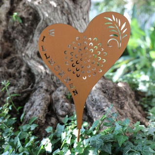 Metall-Gartenstecker Herz Willkommen Rostbraun Beetstecker Gartendeko rustikal