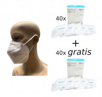 40x FFP2 LXD Mundschutz + 40x gratis Feinstaubmaske weiß Atemschutzmaske CE1463