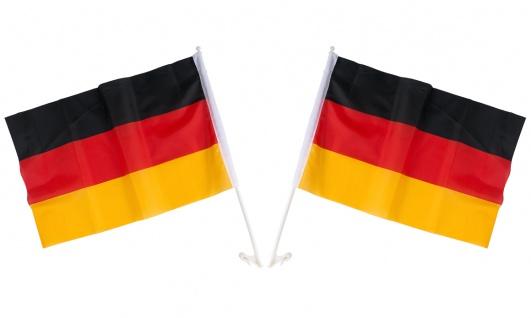 2x Auto-Deutschland-Fahne 45x30cm Autofahne Flagge Wimpel Fußball Fanartikel