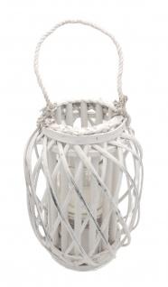 Bambusholz Laterne 30 cm mit Glaseinsatz und Henkel Kerzenhalter Deko Windlicht