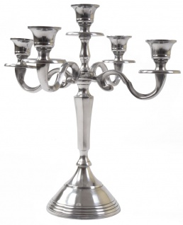 Barock Kerzenständer Aluminium 31cm 5-armig Tischleuchter Kerzenleuchter Kerze