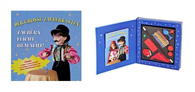 Zauberkasten für Kinder Zaubertricks Zauberstab Zaubertuch Wachsmalstifte Buch