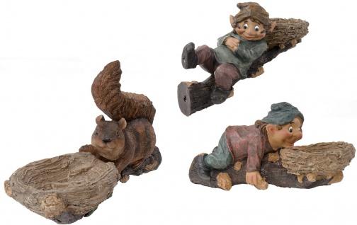 Baumfigur auf Ast Gartendeko Vogelfutterstation Tränke Troll Eichhörnchen Gnom