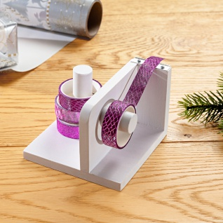 Geschenkband Organizer Abroller 2in1 Tischabroller Klebefilmabroller Holz