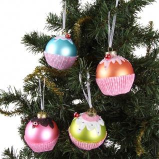 4er-Set Glas-Weihnachtsbaumkugeln Muffin 7cm Christbaumschmuck Anhänger Deko