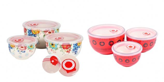 Keramikschüsseln mit Frischhaltedeckel 3er-Set Servierschüssel Salatschüssel