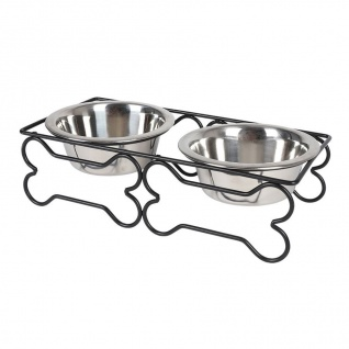 Edelstahl Doppelnapf 2x 300ml Fressnapf Wassernapf Futterstation Hundenapf Katze - Vorschau 2