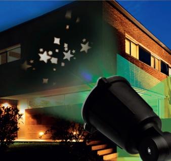 Weihnachtlicher LED-Fassadenstrahler Sterne Projektor Hausbeleuchtung Wandbild