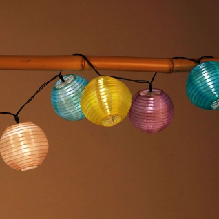 Solar-Lampion-Lichterkette 10 LED Partybeleuchtung Dekolicht Gartendeko warmweiß