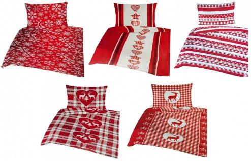 Weihnachts-Bettwäsche 135x200cm Bettbezug Kopfkissenbezug Mikrofleece Garnitur