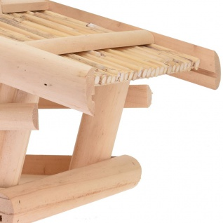 Holz Vogelhaus natur 43x30x25cm Vogelfutterspender Futterstation Futterspender - Vorschau 3