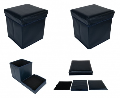 2x Faltbarer Sitzwürfel Aufbewahrungsbox Sitzhocker Sitzbank Fußbank dunkelblau