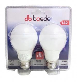 LED Leuchtmittel 60W warmweiß 2er-Set Energiesparlampe E27 Birnenform Glühbirne