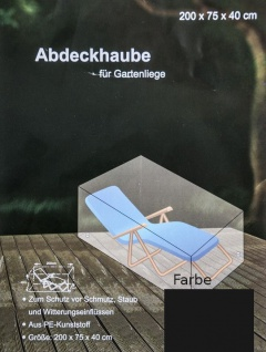 Abdeckhaube anthrazit für Gartenliege Möbelschutz Schutzhülle Liege 200x75x40cm